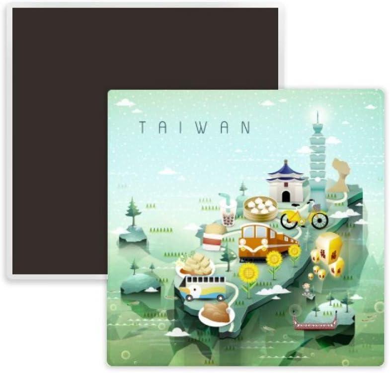 Travel Taiwan Food Attractions China Square Ceramics Fridge Magnet Keepsake Memento