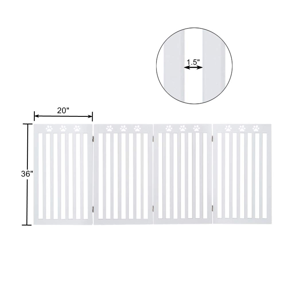 unipaws Freestanding Paw Deco Pet Gate, Foldable Assembly-Free Wooden Dog Gate, Step Over Fence Puppy Gate for Doorway, Stairs,White (20'' Wx36 H,4 Panels) by unipaws (Image #8)