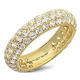 2.55 ct Round Cut Sim Diamond CZ Pave Bridal set Wedding Engagement Band Ring 14kt Yellow Gold