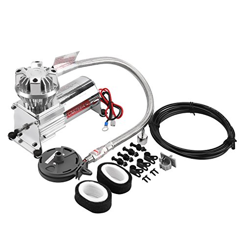 - Auto Tuning Air Suspension Compressor for Heavy Duty Hard Mount Air Train Horn Compressor 130PSI High Pressure Air Pump Oil-Free Stainless Steel Braided Hose