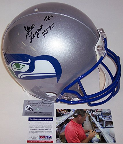 Steve Hand Largent Signed (Steve Largent Autographed Hand Signed Seattle Seahawks Throwback Full Size Authentic Football Helmet - with HOF 95 Inscription - PSA/DNA)