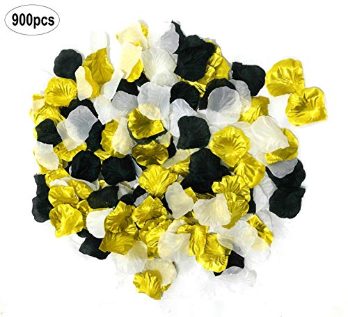 Sogorge 900 Pack Mixed Gold Black White Artificial Flowers Silk Rose Petals Flower Girl Scatter Petals for Wedding Aisle Centerpieces Table Confetti Party Favors Home Decoration