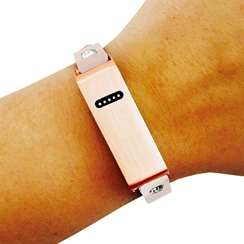 Fitbit Bracelet for Fitbit Flex Fitness Activity Trackers - The KATE INSIGHT Single Strap Plain, Studded or Crystal Studded Brushed Metal and Genuine Leather Buckle Fitbit (Studded Wristband Single)