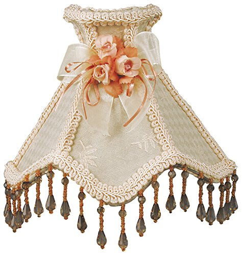 (Royal Designs NL-101 Beaded Cream Victorian Nightlight w/Designer Fabric & Trim, w/Bow & Floral)