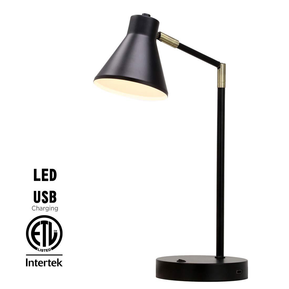O'Bright LED Desk Lamp with USB Charging Port, 100% Metal Lamp, 270° Flexible Swivel Arms, Soft White LED Reading Light (3000K), Bedside Reading Lamp, Office Lamp, Table Lamp, ETL Listed, Black