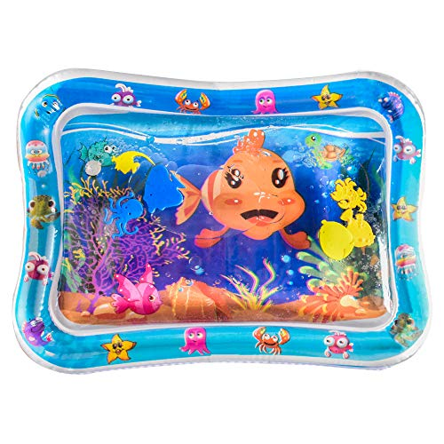 YAOJITOYS Inflatable Baby Water Play Mat Tummy Time Perfect Fun Time for Infants Toddlers Activity Play Center Stimulation Growth Baby Toys (Clown Fish)