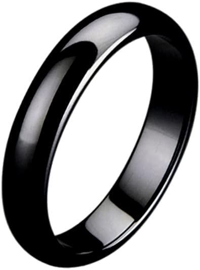 Wedding Bands Classic Bands Flat Bands w//Edge Black Ceramic Ridged Edge 8mm Brushed and Polished Band Size 10.5