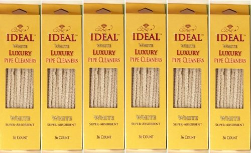 6 Boxes Ideal Pipe Cleaners - Soft, White Cotton - 216 Count Total
