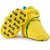 Fleece Baby Booties - Organic Cotton & Gripper Bottoms, Cozy Boys & Girls Bootie (US 1, Lemon Lime)