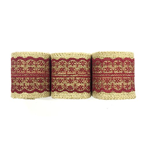 Allydrew 6 Yards Total Vintage Natural Burlap Lace Ribbon (3 Rolls)