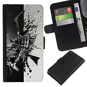 KLONGSHOP // Tirón de la caja Cartera de cuero con ranuras para tarjetas - Negro abstracto en blanco y - Sony Xperia Z3 D6603 //