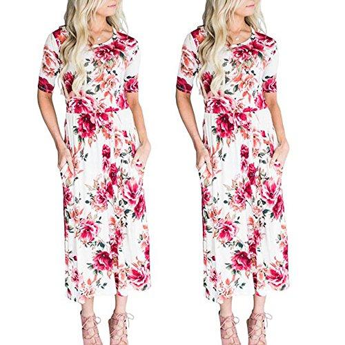 ... WINWINTOM Rockabilly Kleider Damen,Sommerkleider Abendkleid  Knielang,Damenmode Rundhalsausschnitt Kleid Slim Print Hepburn Dress 58e4594398
