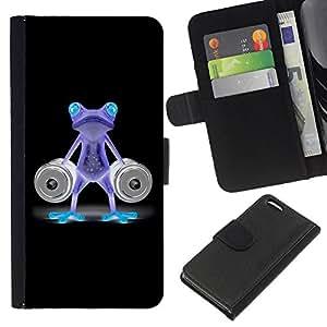 EJOY---La carpeta del tirón la caja de cuero de alta calidad de la PU Caso protector / Apple Iphone 5C / --Divertido Gimnasio Bodybuilder de neón de la rana