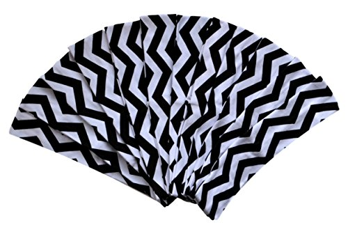 1 DOZEN 2 Inch Wide Cotton Stretch Headbands OFFICIAL FUNNY GIRL DESIGNS HEADBANDS (Official Funny Girl Black Chevron) ()