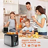 Toaster 2 Slice Best Rated Prime Toasters Stainless Steel Black Bagel Toaster Evenly and Quickly with 2 Wide Slots 7 Shade Settings and Removable Crumb Tray for Bread Waffles