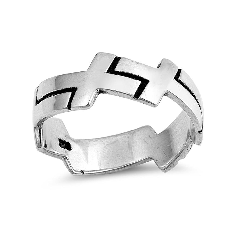 .925 Sterling Silver Cross Motif Ring for Men