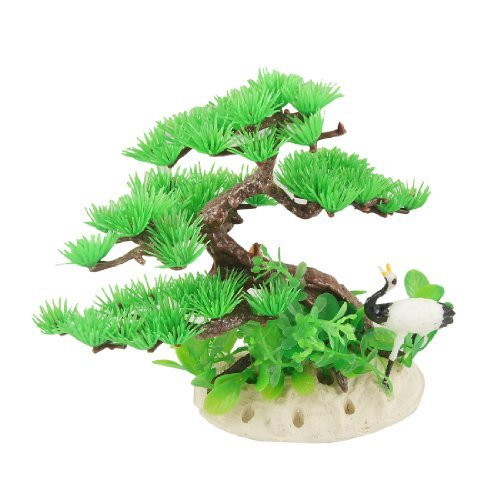 DealMux Plastic Red-Crowned Crane Accent Aquarium Pine Tree Water Plants, Green/Brown