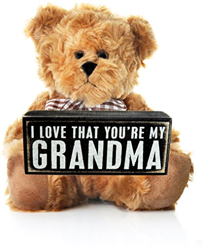 Grandma Gift From Grandson Or Granddaughter For Birthday Mothers Day Christmas Grandmother Wooden Plaque Teddy Bear Grandparents Perfect