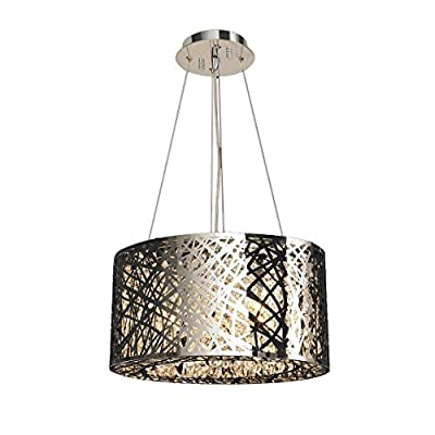 "Worldwide Lighting W83143C20 Aramis Collection 9 Light Chrome Finish & Clear Crystal Drum Round Chandelier 20 inch D x 9 inch H Medium Contemporary Aramis Collection 9 Light Clear Crystal Drum Round Chandelier, 20"" D x 9"" H Large"