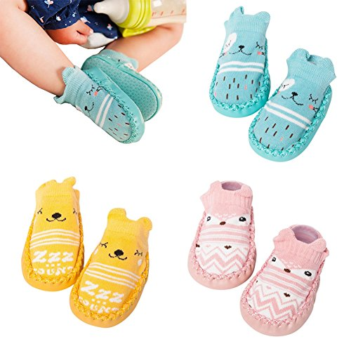 3 Pairs Baby Crib Shoes Toddler Girls Boys Anti-Slip Cotton Socks Boots Infant Newborn Booties (A-Pack, 6-12 Months)