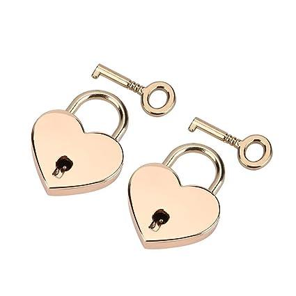Padlock With Key 2pack Heart Shaped Skeleton Key Lock Set Zinc