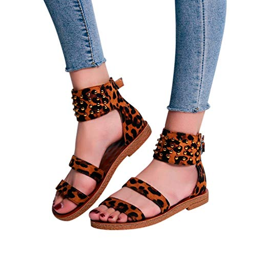 (Women Sandals Clearance Sale!melupa Ladies Fashion Leopard Strap Flat Rivet Ankle Beach Sandals Roman Shoes)