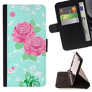 - Retro Vintage Pink Floral Design - Estilo PU billetera de cuero del soporte del tir???¡¯????n [solapa de cierre] Cubierta- For Sony Xperia Z2 D6502 £š Devil Case £©