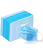Face Mask with Earloops -50 Pc- Disposable-Hypoallergenic-Protect Yourself from Dust, Germs and Pollen – Ideal for Medical, Surgical, Catering and Construction Workers-Blue