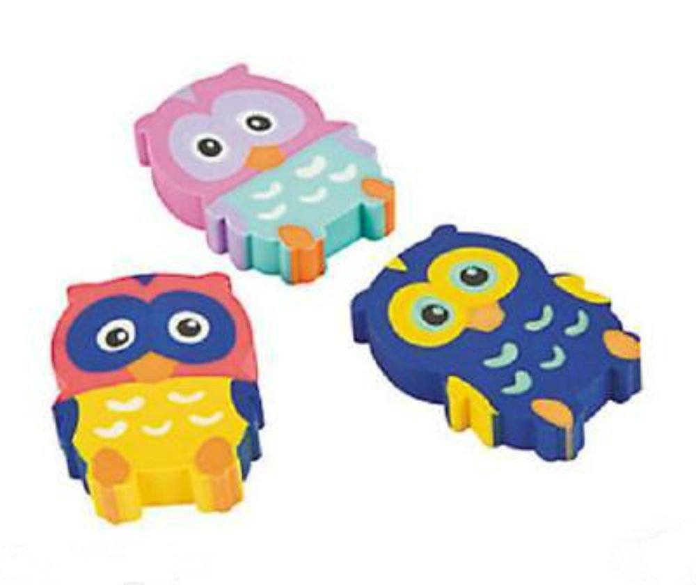 12 Birthday Everyday Party Favors OWL You're A Hoot Mini Owl Shaped ERASERS U.S Best Seller! by Unbranded