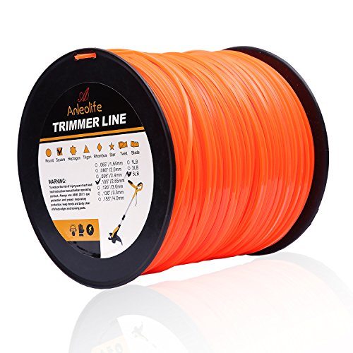(Anleolife 5-Pound Commercial Square .105-Inch-by-1038-ft String Trimmer Line in Spool,with Bonus Line Cutter, Orange )
