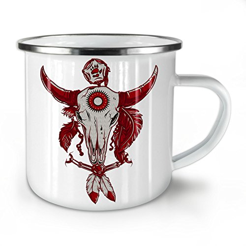 Indian Buffalo Skull Enamel Mug, Feather Cup - Strong, Easy-Grip Handle, Two Side Print, Ideal for Camping & Outdoors By Wellcoda