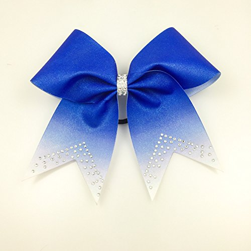Blue Cheer Bows - Rhinestone Cheerleading Bow - Volleyball Bow - Softball Team Bow - Texas Size Gift Bow - Glitter Bows - Rhinestone Bows