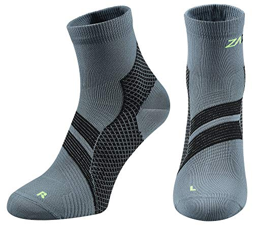 (ZaTech Plantar Fasciitis Sock, Compression Socks. Heel, Ankle & Arch Support. (Gray/Black, Medium))