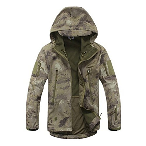 Military Tactical Softshell Jacket Outdoor Camping Hiking Camouflage Coat (Ruins, XL)