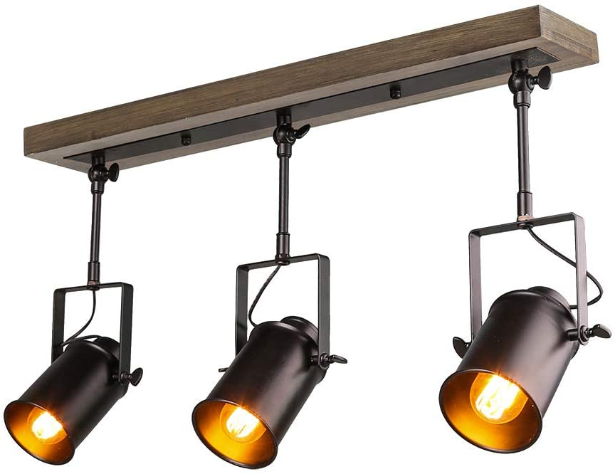 LNC A03185 Adjustable Track Lighting Industrial Wood Canopy 3-Head, for  Ceiling and Wall - - Amazon.com