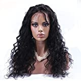 Doubleleafwig Loose Curly Wave Lace Front Human Hair Wigs-Glueless 130% Density Brazilian Virgin Remy Wigs with Baby Hair For Black Woman (22 inch, #1B)