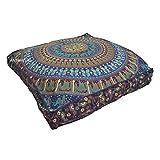 "ANJANIYA - 35""x35"" Mandala Bohemian Yoga Meditation Large Square Dog Bed Outdoor Floor Pillow Cover Couch Seating Cushion Throw Hippie Decorative Boho Indian Ottoman"