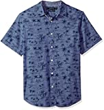 Nautica Men's Short Sleeve Signature Print Button Down Shirt, j Navy, XX-Large