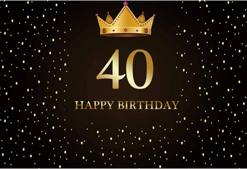 YEELE 15x10ft Golden Crown 40th Birthday Backdrop Black and Gold 40 Years Old Celebration Photography Background Son Daughter Man Woman Portrait Party Table Photo Booth Digital Banner