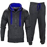 Men Tracksuit Set Contrast Cord Fleece Hoodie Bottom Jogger Gym Sport Suit Pants,Charcoal/Blue,XX-Large