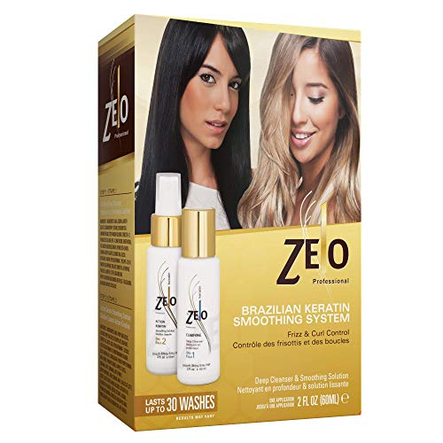 ZELO Smoothing Brazilian Keratin Hair Treatment Kit - Eliminates Frizz, Straightens Hair and Helps Keep Smooth, Shiny, Silky Hair For All Hair Types. Queratina Keratina Brasileira (Best At Home Keratin Smoothing Treatment)
