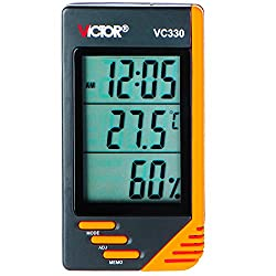 VICTOR VC330 Indoor Digital LCD Thermometer Hygrometer Clock Humidity Meter Orange Mini Size