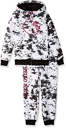 Hello Kitty Big Girls 2 Piece Hooded Fleece Active Set, White, 10