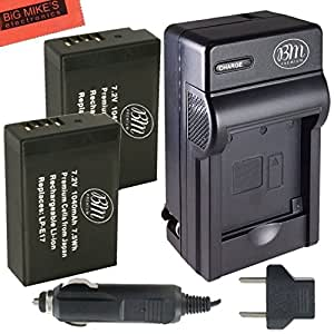 BM Premium 2-Pack of LP-E17 Batteries and Battery Charger for Canon EOS M3, EOS M5, EOS M6, EOS Rebel T6i, T6s, T7i, EOS 77D, EOS 750D, EOS 760D, EOS 8000D, KISS X8i Digital SLR Camera