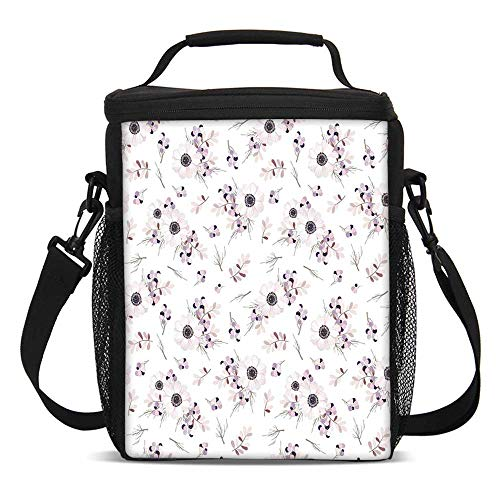 (Anemone Flower Fashionable Lunch Bag,Shabby Chic Spring Pattern Blossoming Bridal Bouquets Romantic Decorative for Travel Picnic,One size)