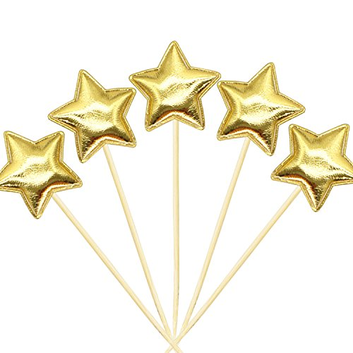 20Pcs Cupcake Toppers Muffin Decor Gold Glitter Star Cupcake Toppers Fun Cake Toppers Picks Mini Birthday Cake Decor Shiny Color Sticks for Baby Boys Girls Kids Birthday Party and Wedding Supplies