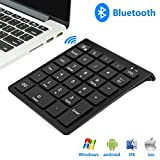 Rytaki Bluetooth Number Pad, Portable Wireless Bluetooth Keypad with Multiple Shortcuts- 28-Key Numeric Keypad Keyboard Extensions for Laptop, Tablets, Surface Pro, Windows, Smartphones and More-Black