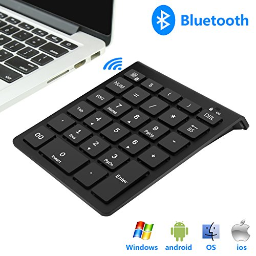 Rytaki Bluetooth Number Pad, Portable Wireless Bluetooth Keypad with Multiple Shortcuts- 28-Key Numeric Keypad Keyboard Extensions for Laptop, Tablets, Surface Pro, Windows, Smartphones and More-Black by Rytaki