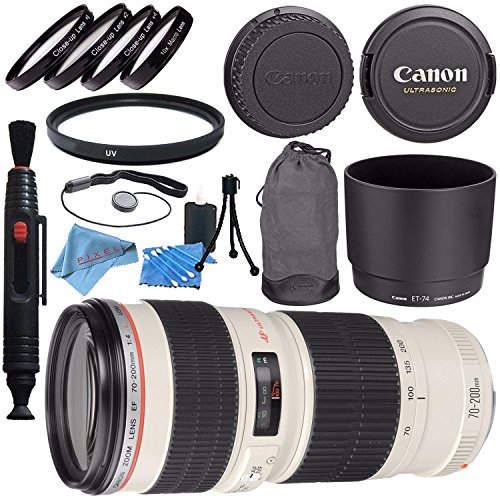 Canon EF 70-200mm f/4L USM Lens 2578A002 + 67mm Macro Close Up Kit + 67mm UV Filter + Lens Cleaning Kit + Lens Pen Cleaner + Fibercloth Bundle by Canon