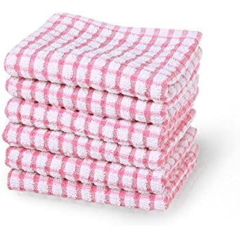 uxcell Cotton Terry Kitchen Towels Dish Cloth, Cleaning Drying Hotel Wash Cloth, 15 x 10.5 inches, Pack of 6, Pink